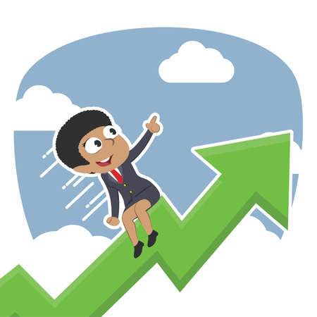 african businesswoman riding graph through clouds Illustration