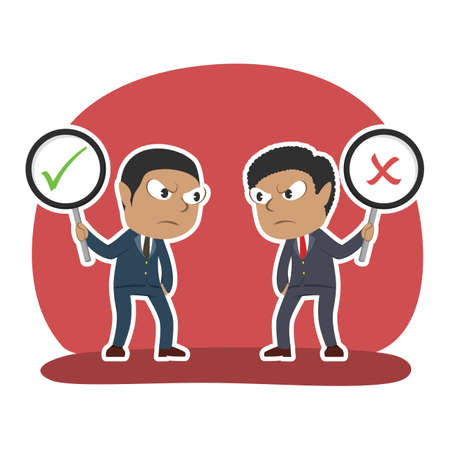 african businessman debate using checklist and crosswise sign Illustration