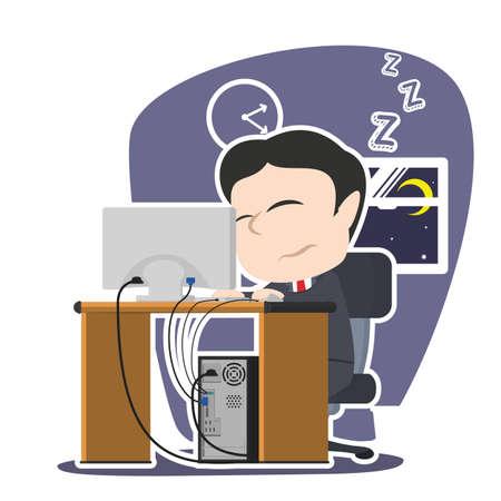 sleepy asian businessman working