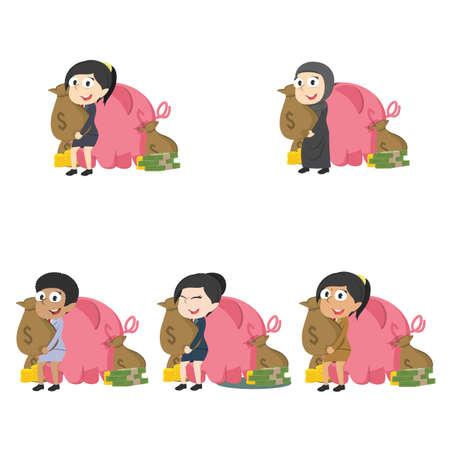 Businesswoman holding money sack behind pig. Illustration