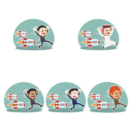 Businessman being chased by tax debt rocket different race set. Ilustração Vetorial