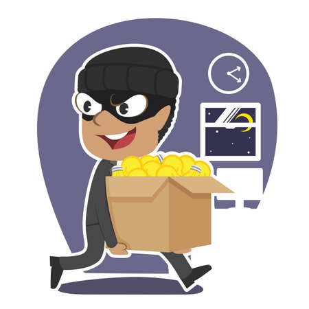 Thief businessman stealing box of ideas. Vectores