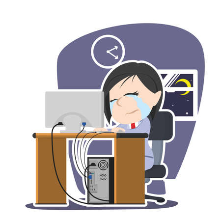 Crying Asian businesswoman working illustration design.