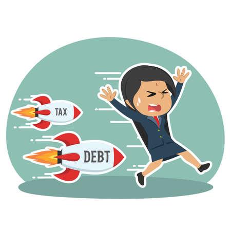 indian businesswoman being chased by tax debt rocket Ilustração Vetorial