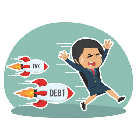 indian businesswoman being chased by tax debt rocket Illustration