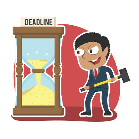 african businessman want to break deadline hourglass with hammer