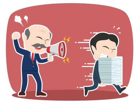 Grumpy asian boss yelling angry to his employee Ilustração