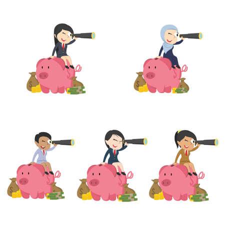 businesswoman is using binocular on piggy bank different race set Illustration