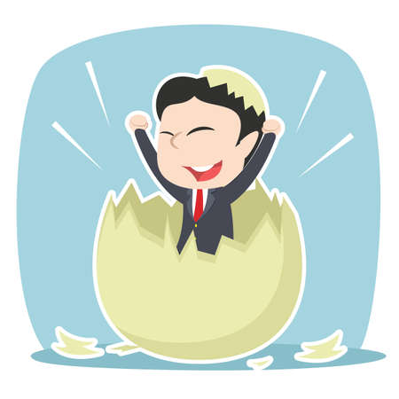 asian businessman hatched from egg Stock Illustratie
