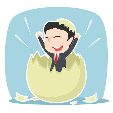 asian businessman hatched from egg Illustration