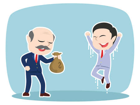 Cartoon illustration of asian boss giving money sack to his male employee concept Illustration