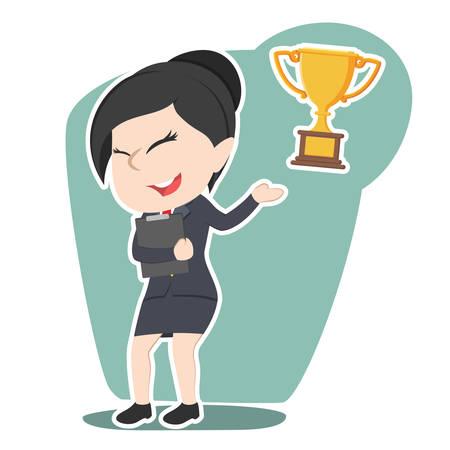 Cartoon illustration of asian businesswoman presenting trophy Illustration