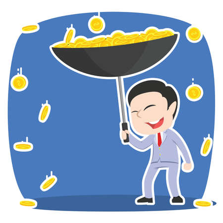 asian businessman gather coin with umbrella rain Illustration