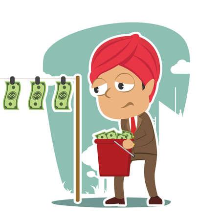 indian businessman drying money Illustration
