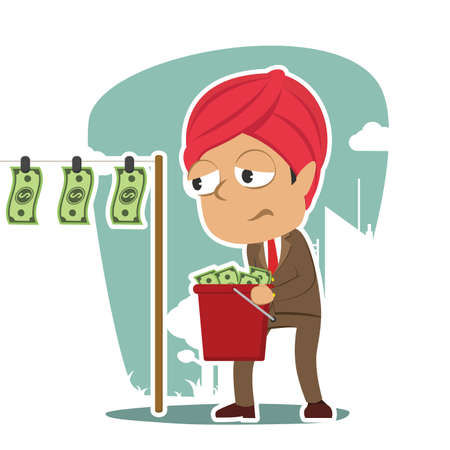 indian businessman drying money Illustration