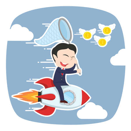 asian businessman on rocket chasing flying coins Illustration