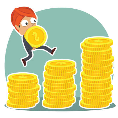 indian businessman climbing coin stairs while carrying coin