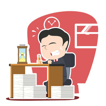 japanese ethnicity: asian businessman panic with lot of task and deadline Illustration