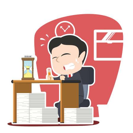 job deadline: asian businessman panic with lot of task and deadline Illustration