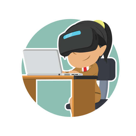 indian businesswoman with vr headset using laptop in circle