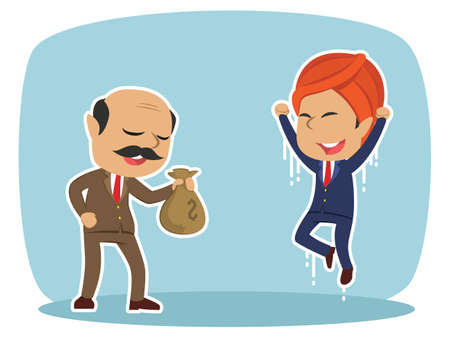Indian boss giving money sack to his male employee Illustration