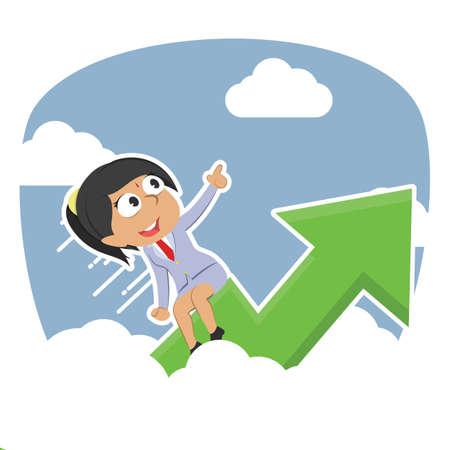 Businesswoman riding graph through clouds