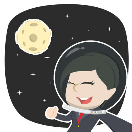 Asian businesswoman selfie in space Illustration