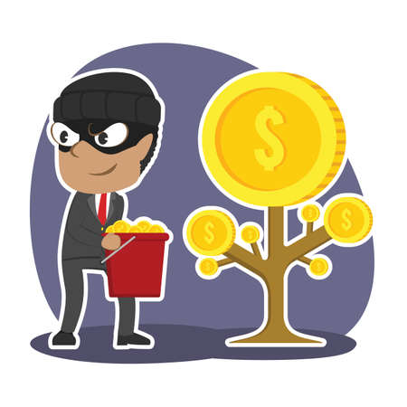 Thief businessman harvesting coins from someone else coin tree Illustration