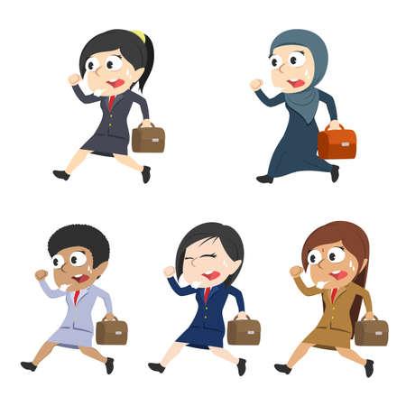Businesswomen running to work different race set