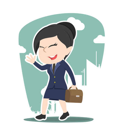 Asian businesswoman going to work Illustration