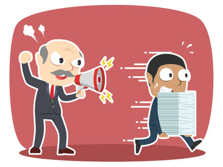 Grumpy boss yelling angry to african businessman