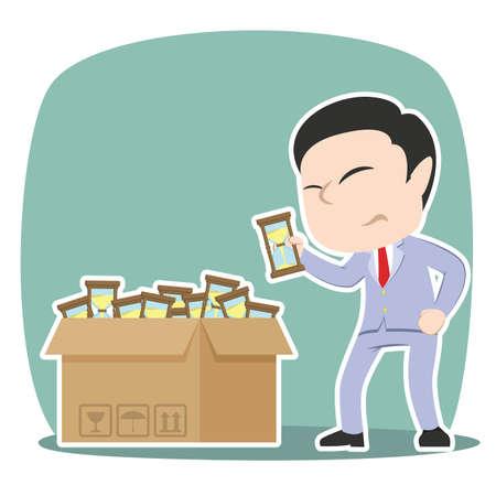 Asian businessman choosing hourglass