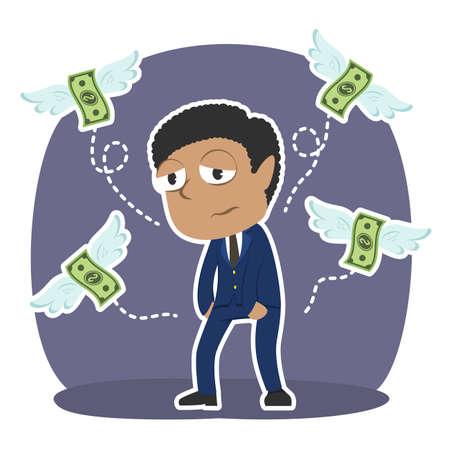 Homme d'affaires africain n'a pas d'argent Vecteurs