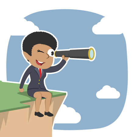 african businesswoman sitting on cliff edge and using telescope
