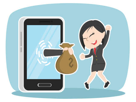 asian businesswoman happy got money from smartphone Ilustração
