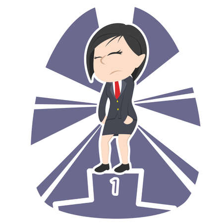 tired asian businesswoman dont care about be the champion