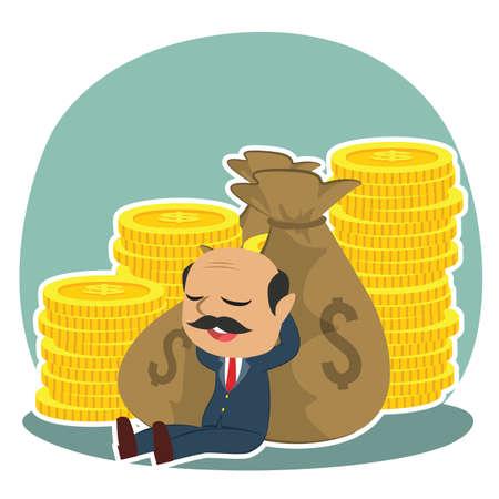 indian boss relaxing on money