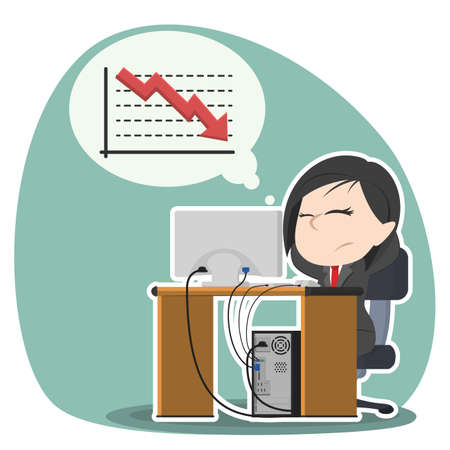 asian businesswoman worried thinking about down graph Vectores
