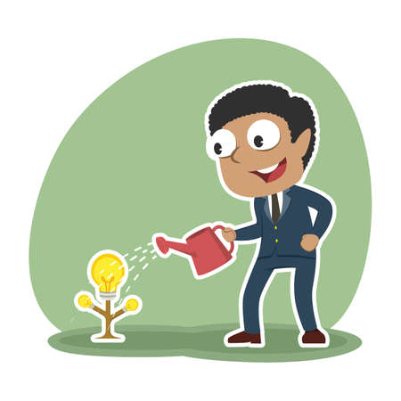 african businessman watering his idea tree for growing Illustration