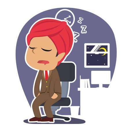 インドのビジネスマン落下眠っているイラスト デザイン  イラスト・ベクター素材