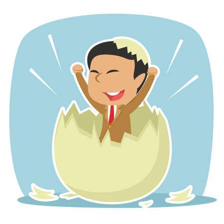 indian businessman hatched from egg Illustration