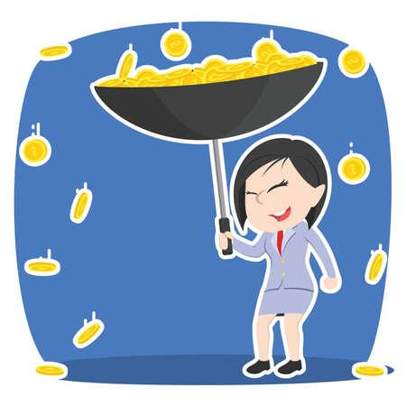 asian businesswoman gather coin with umbrella rain