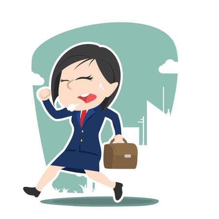 japanese ethnicity: asian businesswoman running to work Illustration