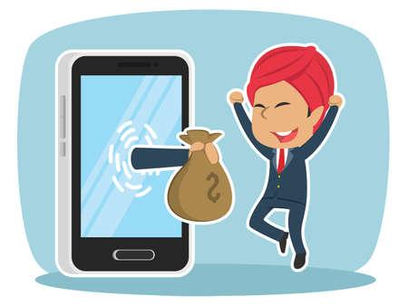 Indian businessman happy got money from smartphone