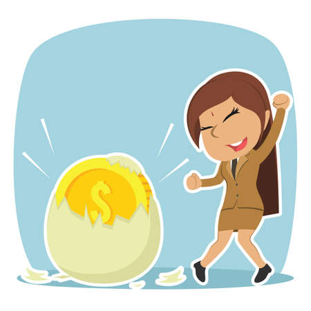 indian businesswoman happy got her coin hatched from egg