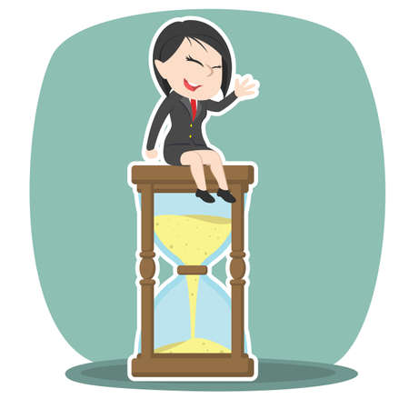 asian businesswoman is sitting on hourglass Illustration