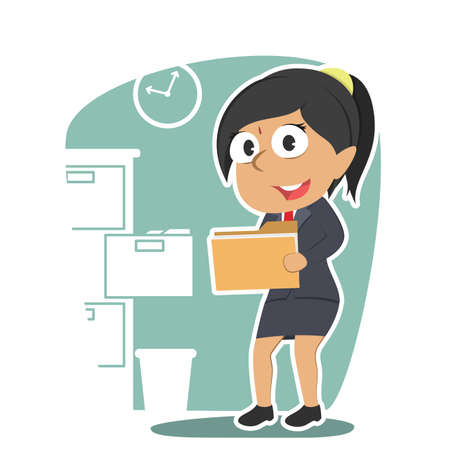 indian businesswoman holding file document Vectores