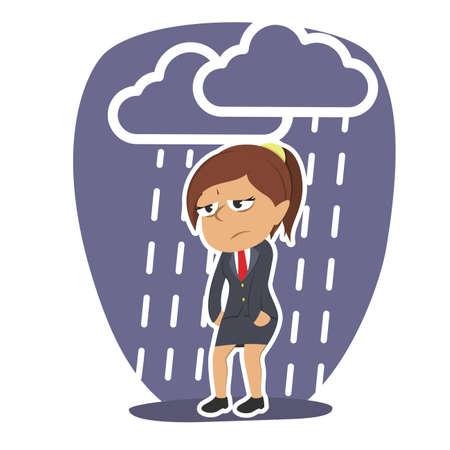 Müde indische Geschäftsfrau mit Regenwolke