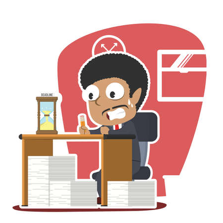 african businessman panic with lot of task and deadline illustration design