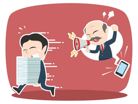 japanese ethnicity: asian businessman panic got phone call from his boss
